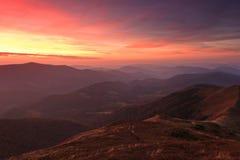 Landscape evening autumn mountains at sunset. Stock Image