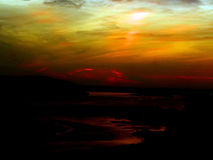 Landscape of evening sunset on the Volga river. Closeup royalty free stock image