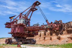 Landscape with extractive industry giant bucket wheel excavator stock photography