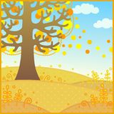 Landscape fall. Vector illustration background autumn landscape Stock Photos