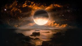 Landscape in fantasy alien planet with flaming moon and galaxy background. Elements of this image furnished by NASA stock illustration