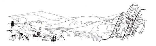 Landscape fantasy drawing of mountain scape cloud and tree Royalty Free Stock Image