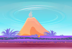 Landscape fantasy Island with volcano. Paradise fantasy island with colorful shrubs. Cartoon style. Seamless grounds. Ready Parallax. Vector illustration Stock Photography
