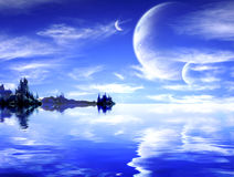 Landscape in fantasy planet. Collage - landscape in fantasy planet stock photo