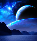 Landscape in fantasy planet. Sea, mountains, planets and nebula. Elements of this image furnished by NASA. 3d render Stock Photo
