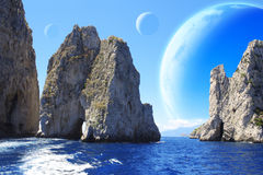 Landscape of fantasy planet. Sea, rock and moons. Elements of this image furnished by NASA stock photo