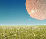 Landscape with fantasy planet. Landscape with fantasy planet in sky. Elements of this image furnished by NASA Stock Image
