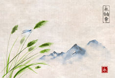 Landscape with far mountains and dragofly on leaves of grass, Traditional oriental ink painting sumi-e, u-sin, go-hua. Contains hieroglyph - eternity Stock Images
