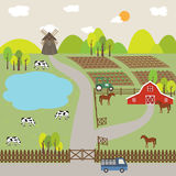 Landscape of Farm Field and Hill. Green landscape of farm animal and hill Stock Photography