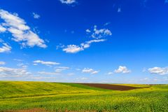 Landscape with a farm field Stock Photo