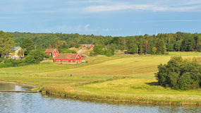 Landscape with farm and pasture on shores of Baltic Sea Royalty Free Stock Photography