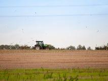 Landscape farm scene side ways tractor ploughing field birds beh Stock Image