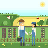 Landscape Farm, two farmers care for their land, planting, pets. Vector material design Stock Photos