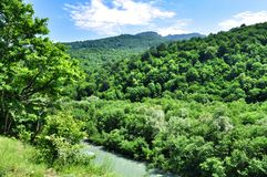 Landscape of fast river Malaya Laba royalty free stock images