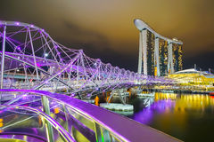 Landscape of Felix bridge and Marina Bay Sands Stock Image