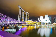 Landscape of Felix bridge and Marina Bay Sands Royalty Free Stock Photos