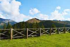 Landscape and fence in Maramures, Romania Royalty Free Stock Images