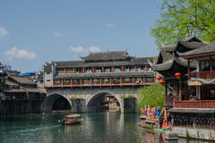 Landscape of Fenghuang ancient town in daytime, famous tourist a Royalty Free Stock Photo