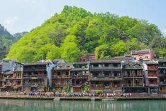Landscape of Fenghuang ancient town in daytime, famous tourist a Stock Photo
