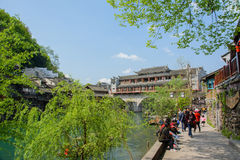 Landscape of Fenghuang ancient town in daytime, famous tourist a Stock Photos