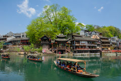 Landscape of Fenghuang ancient town in daytime, famous tourist a Royalty Free Stock Photography