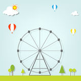 Landscape with a ferris wheel Royalty Free Stock Image