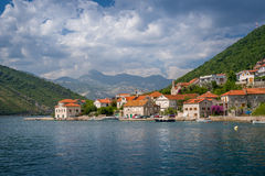 Landscape on ferry way in the Bay of Kotor Royalty Free Stock Photography