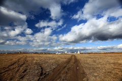 landscape field ans sky with clouds Royalty Free Stock Photography