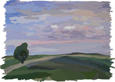 Landscape; field and blue sky stock photography