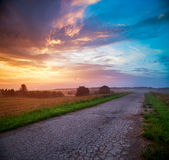 Landscape with Field and Country Road at Sunset Royalty Free Stock Photography