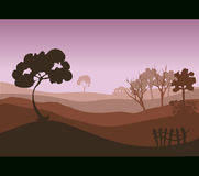 Landscape Field Environment with Trees and a Small Fence. Royalty Free Stock Image