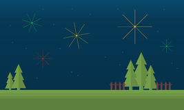 Landscape field with firework of vector flat. Illustration Royalty Free Stock Image