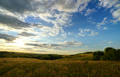 The landscape of the field with a spectacular sky Royalty Free Stock Image