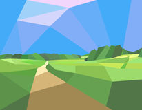 Landscape field and trees. Polygonal abstract illustration of a field with trees and road. EPS Royalty Free Stock Photos