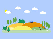 Landscape with fields, barn and cows. In flat style Stock Images