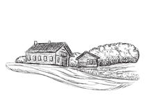 Landscape with Fields and Building sketch. Hand drawn Vector Illustration Stock Photos
