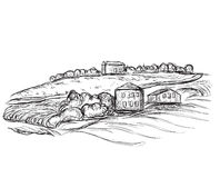Landscape with Fields and Building sketch. Hand drawn Vector Illustration Royalty Free Stock Image