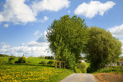 Landscape with fields and clouds in the Eifel royalty free stock images