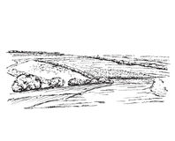 Landscape with Fields. Hand drawn nature sketch Royalty Free Stock Photo