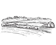 Landscape with Fields. Hand drawn nature sketch Stock Photos