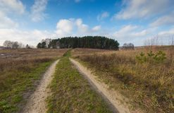 Landscape of fields at late autumn or winter Stock Photography