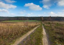 Landscape of fields at late autumn or winter Royalty Free Stock Image