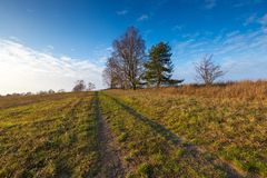 Landscape of fields at late autumn or winter Royalty Free Stock Photo