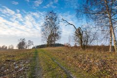 Landscape of fields at late autumn or winter Stock Photo