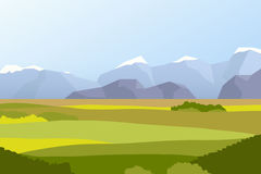 Landscape with fields and mountains. Flat illustration Royalty Free Stock Photography