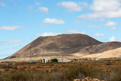 Landscape of fields and mountains near Antigua village, Fuerteventura, Royalty Free Stock Photo