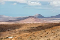 Landscape of fields and mountains near Antigua village, Fuerteventura, Stock Photography