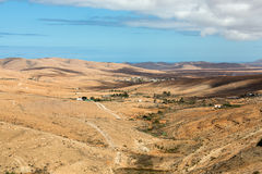 Landscape of fields and mountains near Antigua village, Fuerteventura, Royalty Free Stock Image