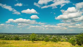 Landscape Fields and Moving Clouds in Blue Sky. Timelapse. Amazing Rural valley. Ukraine stock footage