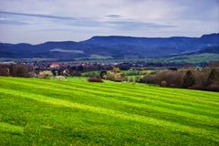 Landscape of fields near the town of Hechingen Schwarzwald germany royalty free stock photos